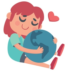 Girl hugging the World vector image
