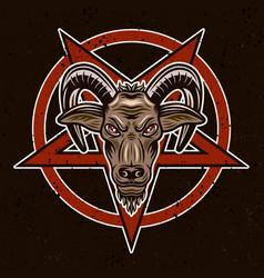 Goat head and pentagram vector