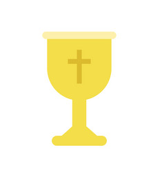 Golden cup or goblet chalice for christian worship vector