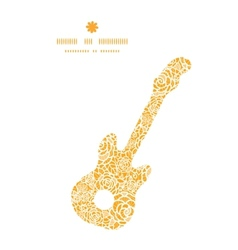 golden lace roses guitar music silhouette pattern vector image vector image