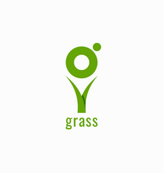 grass logo with letter g on white background vector image