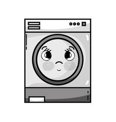 Grayscale kawaii cute sad washing machine vector