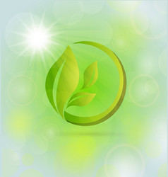 green organic leafs icon vector image