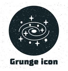 Grunge milky way spiral galaxy with stars icon vector