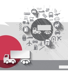 Hand drawn truck icons with icons background vector image