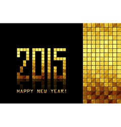 Happy New Year 2015 - golden mosaic background vector image