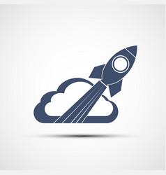 Icon rocket flies through clouds vector