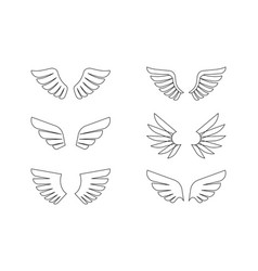 isolated wings outline icon set vector image