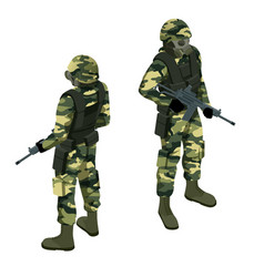 isometric a soldier in a gas mask and with a gun vector image