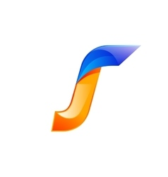 J letter blue and Orange logo design Fast speed vector image