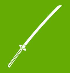 Japanese katana icon green vector