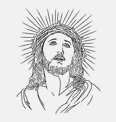 Jesus christianity religion line art drawing style vector