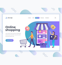 Landing page template online shopping concept with vector