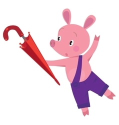 Little piglet with umbrella vector image