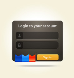 login window with place for text and social media vector image