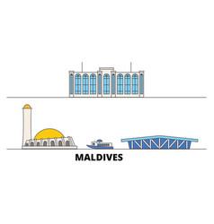Maldives flat landmarks vector