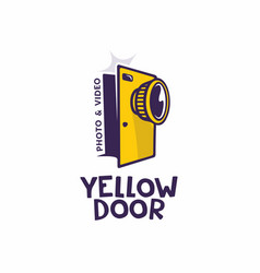 Modern professional sign logo yellow door vector