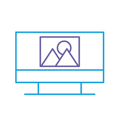 monitor computer with picture file isolated icon vector image