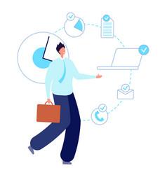multitask working man executive entrepreneur vector image