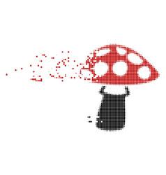 Mushroom fractured pixel icon vector