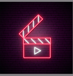 neon clapperboard sign bright glowing vector image