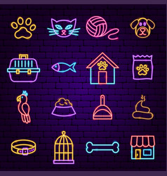 pet shop neon icons vector image