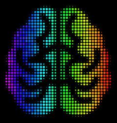 rainbow colored pixel brain icon vector image