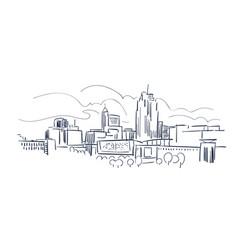 raleigh north karolina usa america sketch city vector image