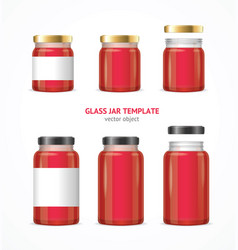 Realistic glass jar with jam template set vector