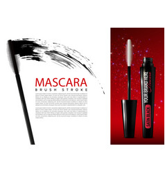 Realistic mascara cosmetic advertising template vector