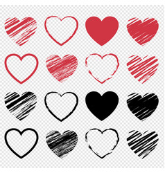 red and heart symbol set isolated transparent vector image