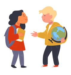 schoolchildren talking about disciplines vector image