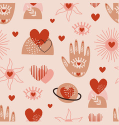 seamless pattern with love boho hand sun eye vector image