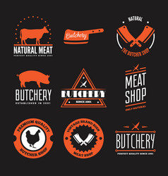 Set of butchery labels badges and design vector