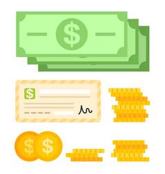 Set unit money flat icon isolated vector
