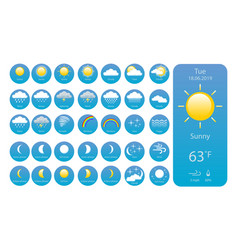 set weather icons for print web or mobile app eps vector image