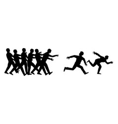 Silhouette human run escape from zombies group vector