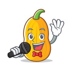 Singing butternut squash mascot cartoon vector