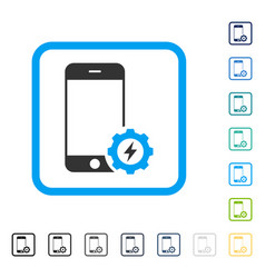 Smartphone power options gear framed icon vector
