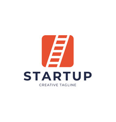 Startup step stairs ladder logo design square vector