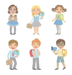 Sudents With School Bags Set vector image