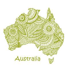 Textured map of australia hand drawn ethno vector