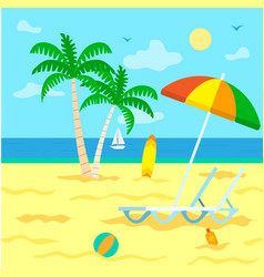 Tourism summer vacation beach with palm trees vector