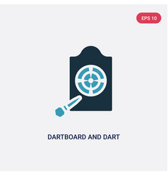 two color dartboard and dart icon from sports vector image