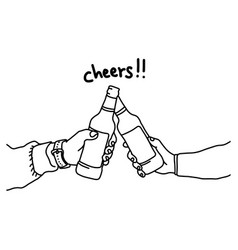 two hands holding two beer bottles vector image