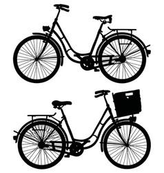 Two retro bicycles vector
