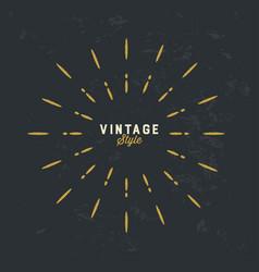 Vintage gold sunburst design element on grunge vector