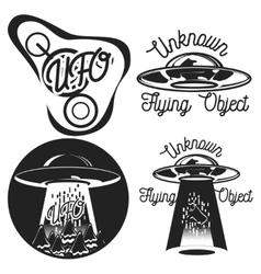 Vintage ufo emblems vector