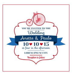 Wedding Invitation Card -Vintage Bicycle Theme vector image