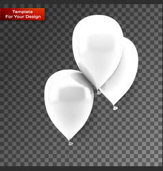 white balloons on isolated on transparent vector image